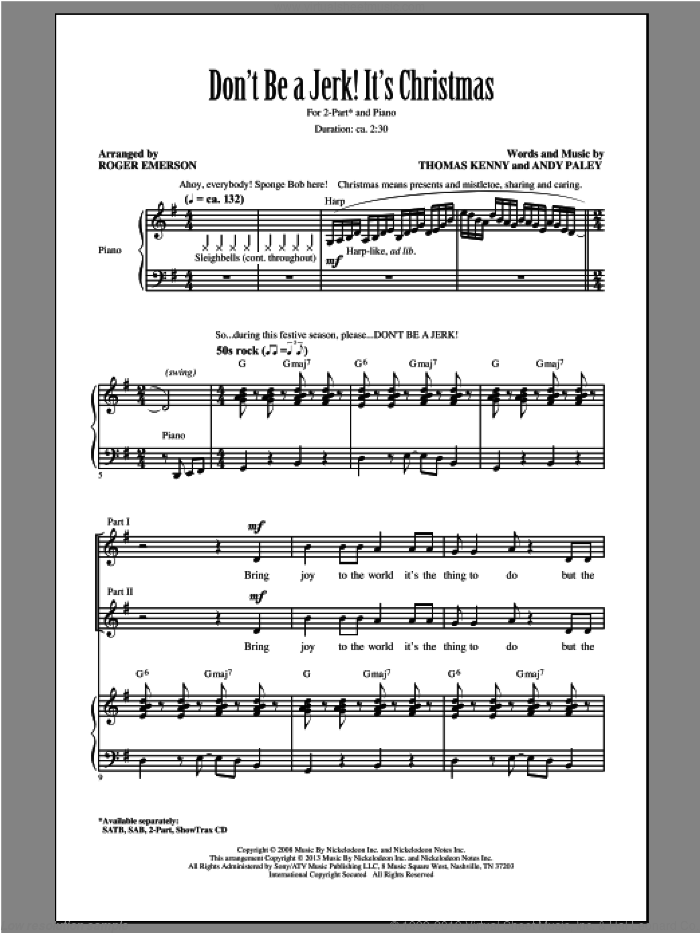 Don't Be A Jerk It's Christmas sheet music for choir and piano (duets) by Roger Emerson. Score Image Preview.