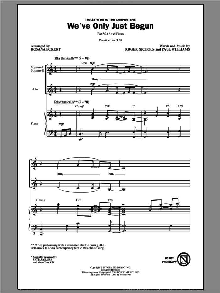 We've Only Just Begun sheet music for choir (SSA: soprano, alto) by Rosana Eckert, intermediate. Score Image Preview.