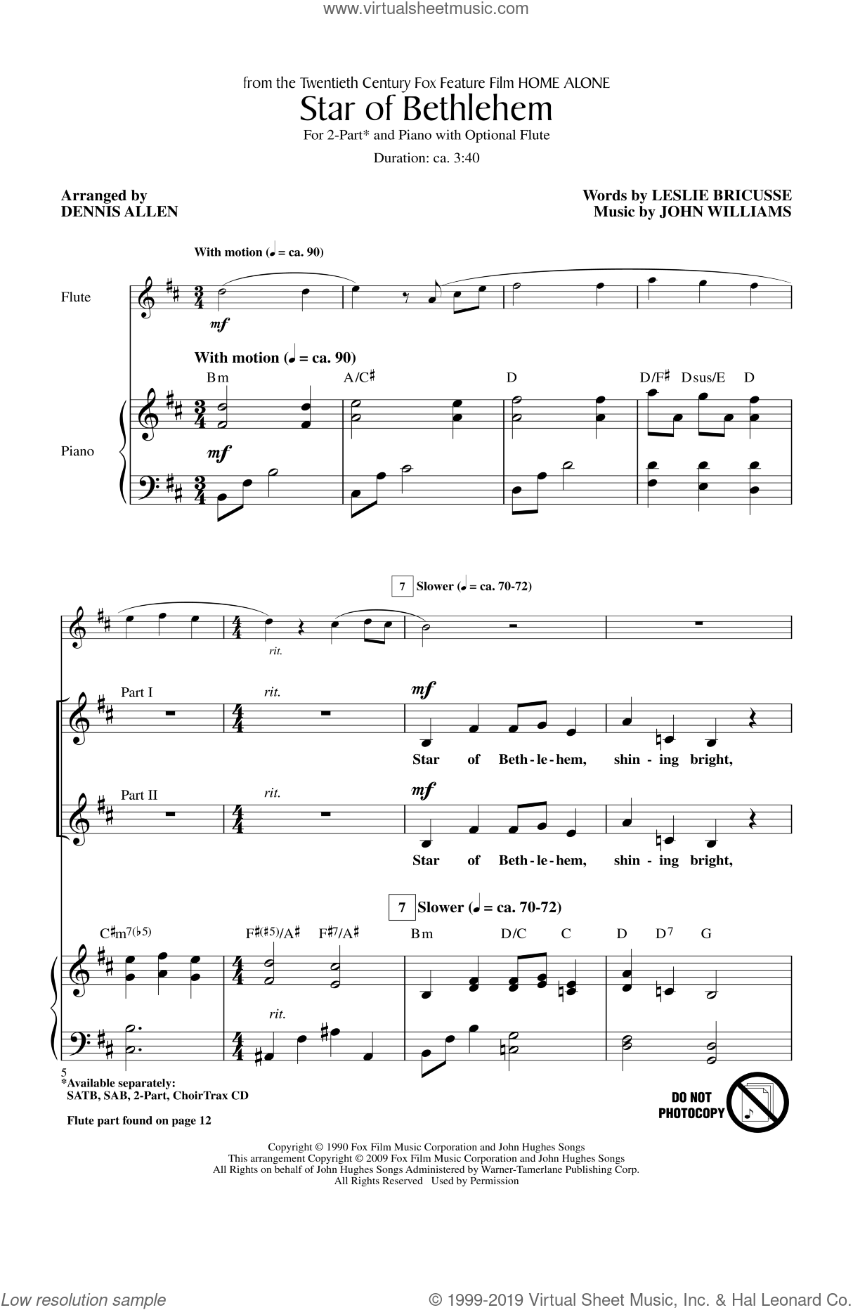 Star Of Bethlehem sheet music for choir (duets) by John Williams and Dennis Allen, Christmas carol score, intermediate duet. Score Image Preview.