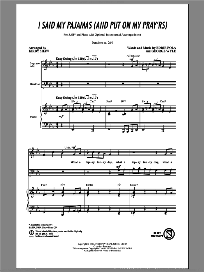 I Said My Pajamas (And Put On My Pray'rs) sheet music for choir and piano (SAB) by Kirby Shaw. Score Image Preview.