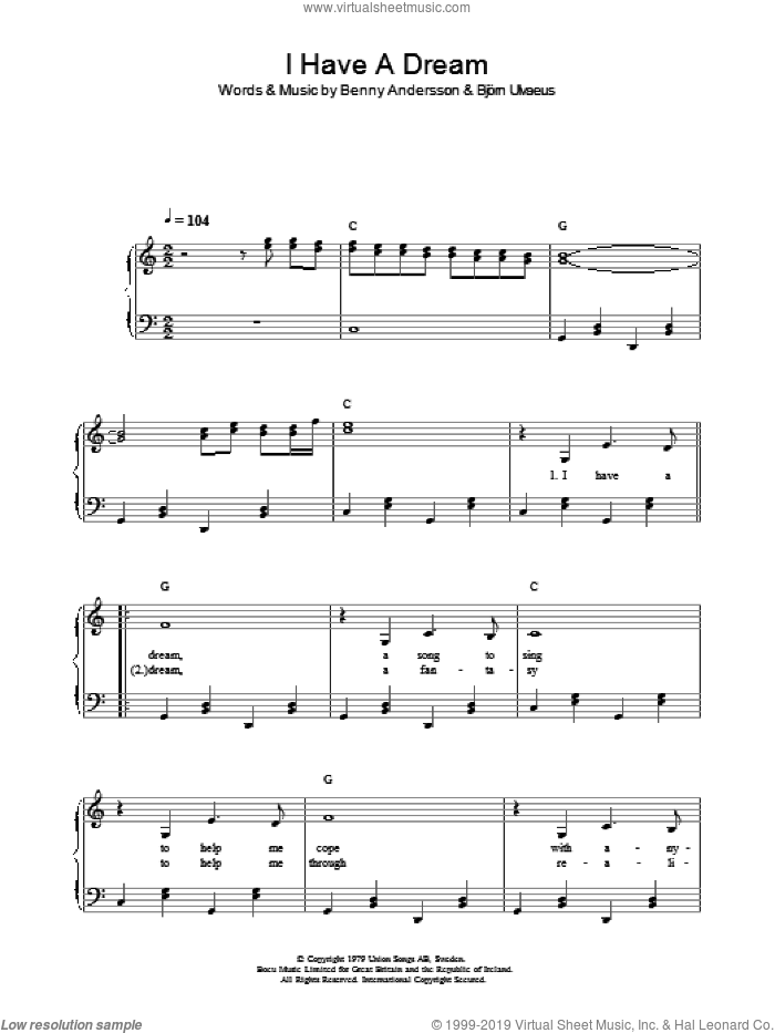 I Have A Dream sheet music for voice, piano or guitar by Bjorn Ulvaeus, ABBA and Benny Andersson. Score Image Preview.