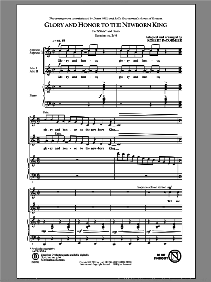 Glory and Honor To The Newborn King sheet music for choir (SSA: soprano, alto) by Robert DeCormier, intermediate