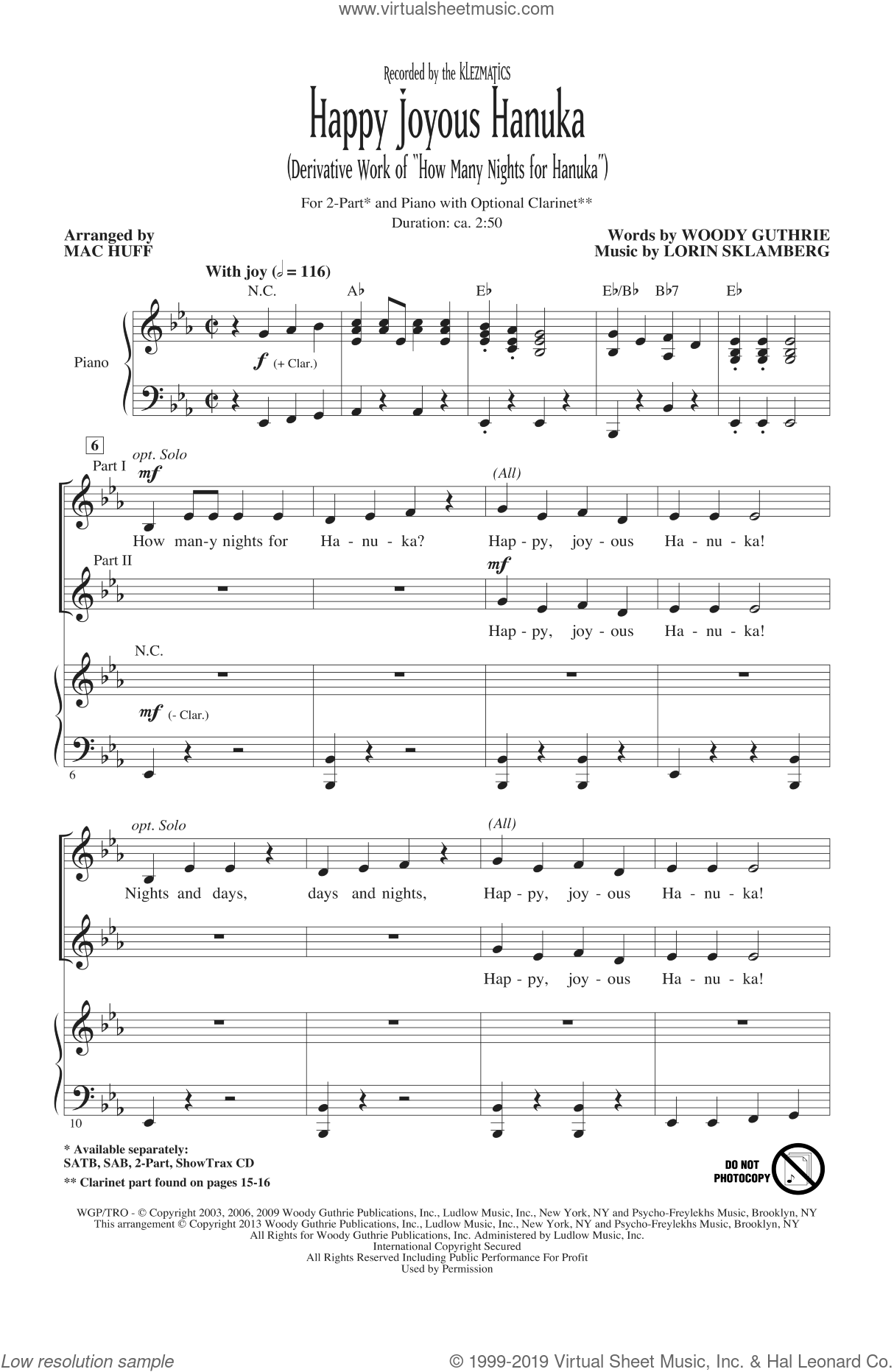 Happy Joyous Hanuka sheet music for choir (2-Part) by Mac Huff and Klezmatics, intermediate duet. Score Image Preview.