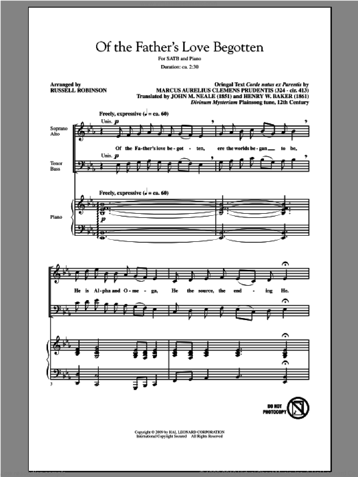Of The Father's Love Begotten sheet music for choir (SATB: soprano, alto, tenor, bass) by Russell Robinson, intermediate. Score Image Preview.
