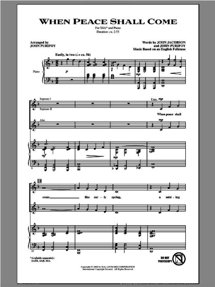 When Peace Shall Come sheet music for choir and piano (SSA) by John Purifoy and John Jacobson. Score Image Preview.