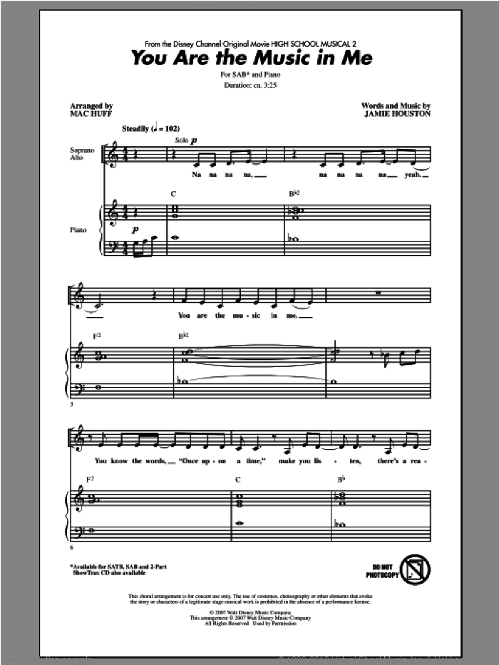 You Are The Music In Me (from High School Musical 2) sheet music for choir and piano (SAB) by Mac Huff. Score Image Preview.