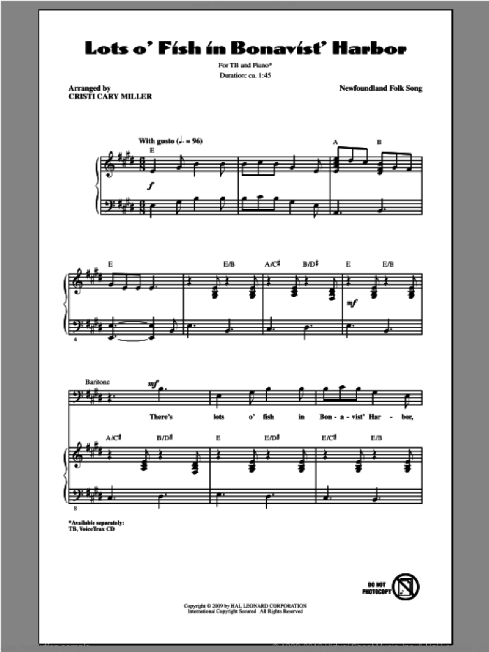 Lots O' Fish In Bonavist' Harbor sheet music for choir (TB) by Cristi Cary Miller. Score Image Preview.