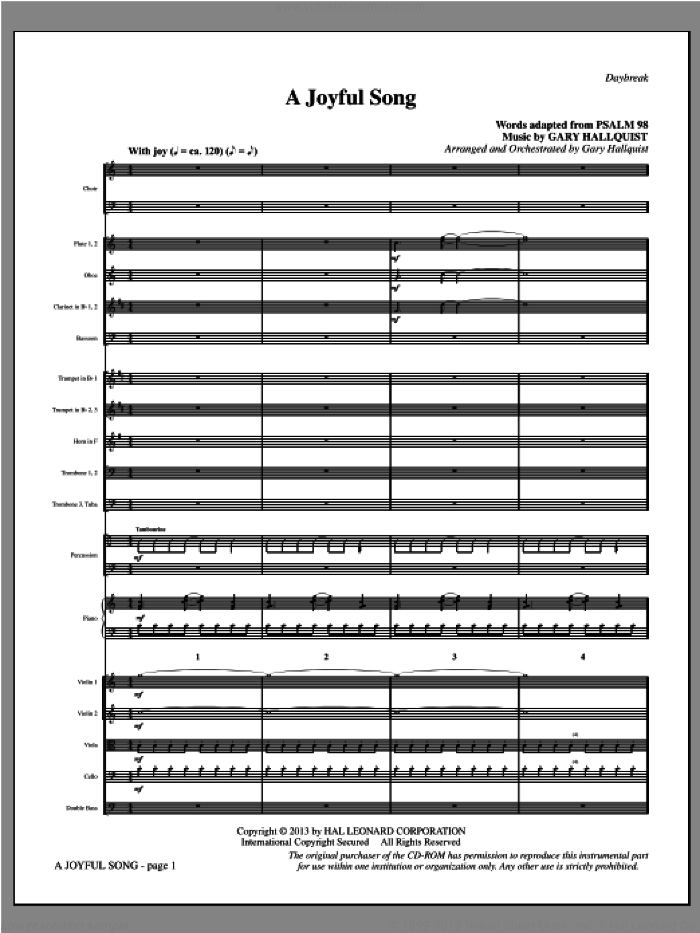 A Joyful Song sheet music for orchestra/band (full score) by Gary Hallquist