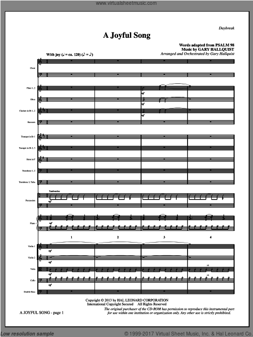 A Joyful Song (COMPLETE) sheet music for orchestra by Gary Hallquist