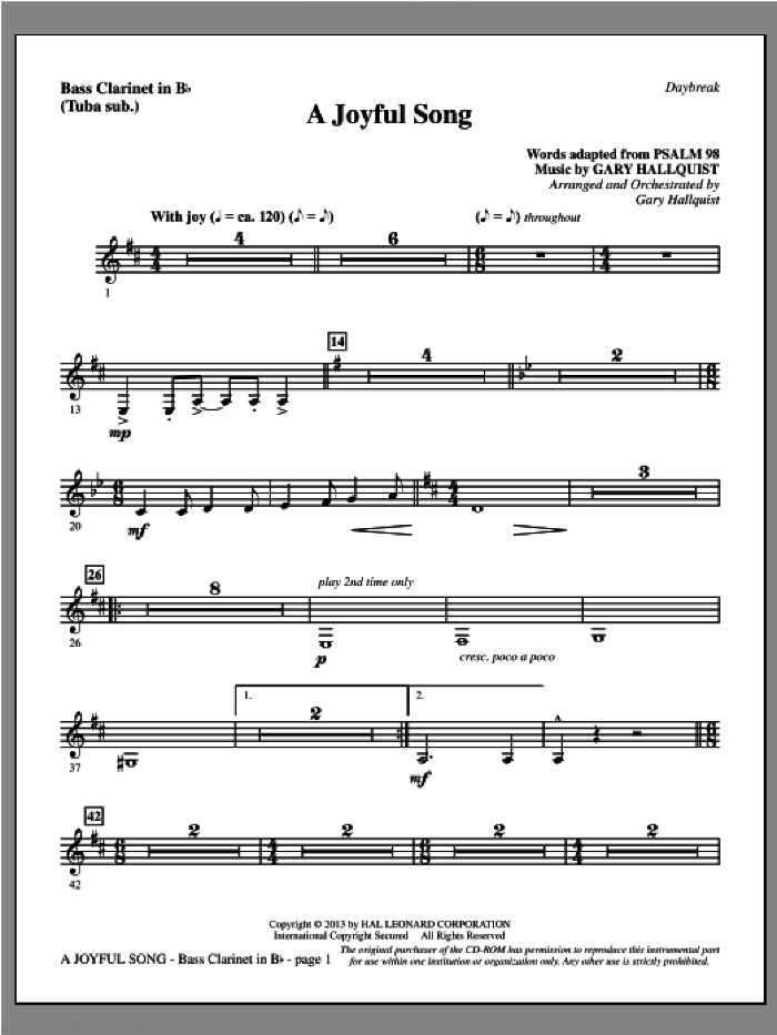 A Joyful Song sheet music for orchestra/band (bass clarinet, sub. tuba) by Gary Hallquist