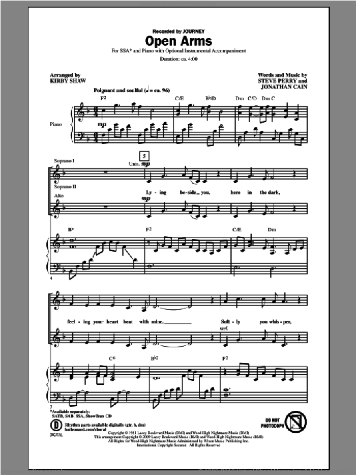Open Arms sheet music for choir (soprano voice, alto voice, choir) by Kirby Shaw and Journey. Score Image Preview.