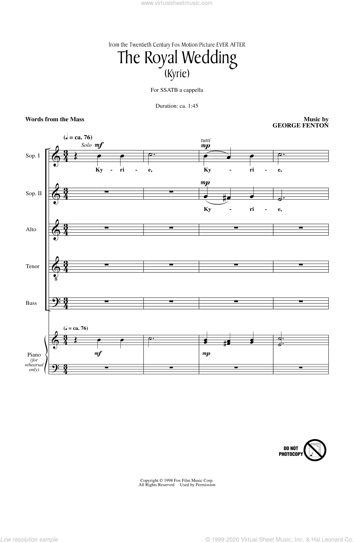 The Royal Wedding (Kyrie) sheet music for choir (SATB) by George Fenton, intermediate choir (SATB). Score Image Preview.
