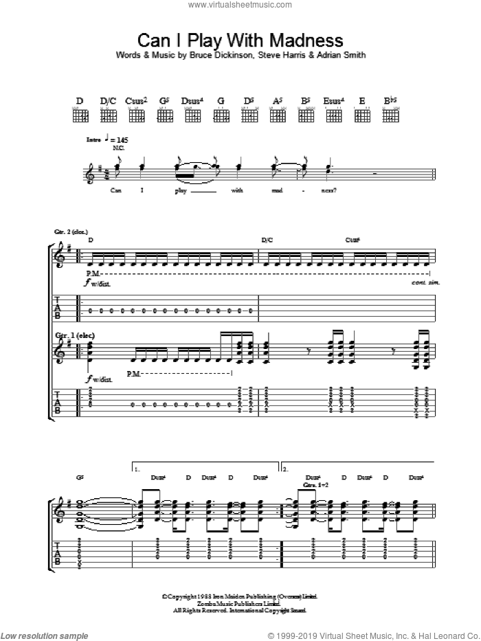 Can I Play With Madness? sheet music for guitar (tablature) by Steve Harris, Iron Maiden, Adrian Smith and Bruce Dickinson. Score Image Preview.