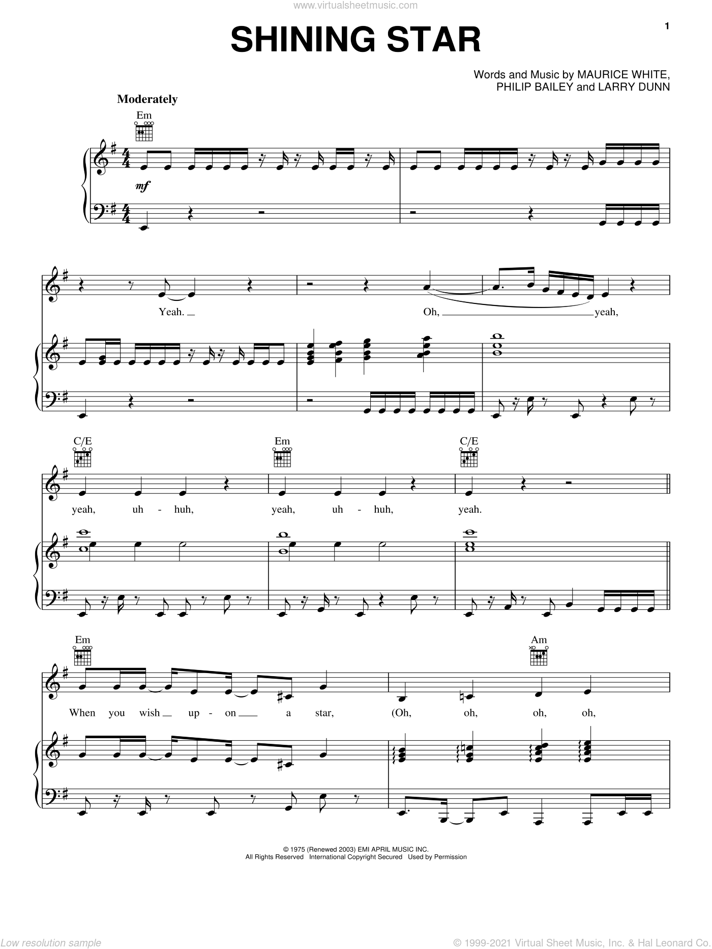 Shining Star sheet music for voice, piano or guitar by Earth, Wind & Fire, Yolanda Adams, Larry Dunn, Maurice White and Philip Bailey, intermediate skill level