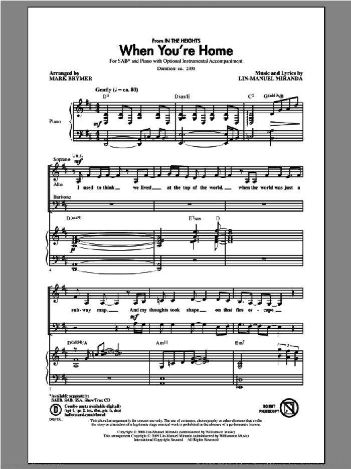 When You're Home (from In The Heights) sheet music for choir (SAB: soprano, alto, bass) by Mark Brymer, intermediate skill level