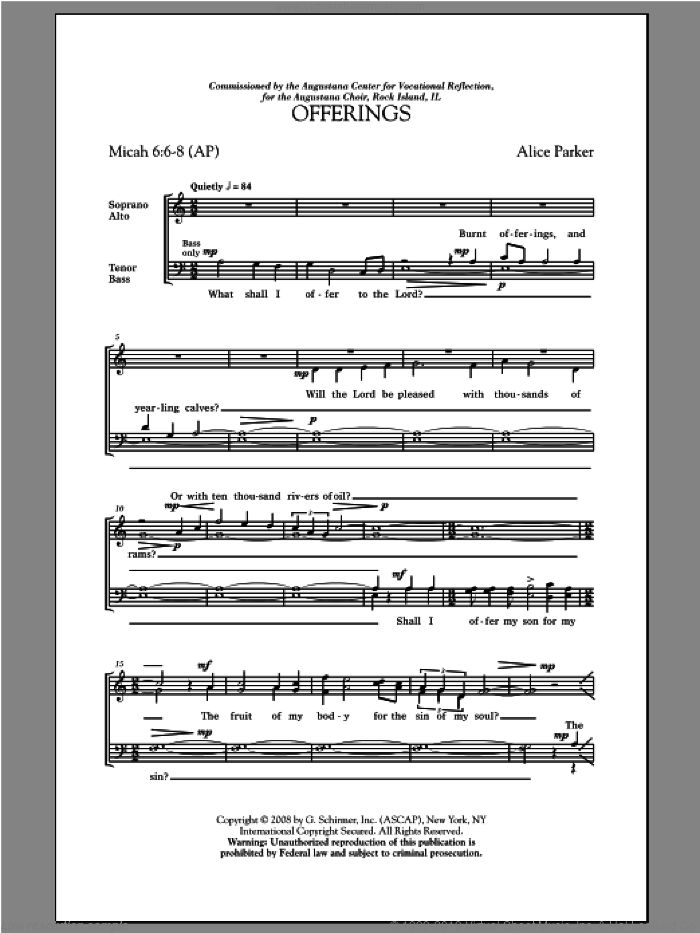 Offerings sheet music for choir (SATB: soprano, alto, tenor, bass) by Alice Parker, intermediate. Score Image Preview.