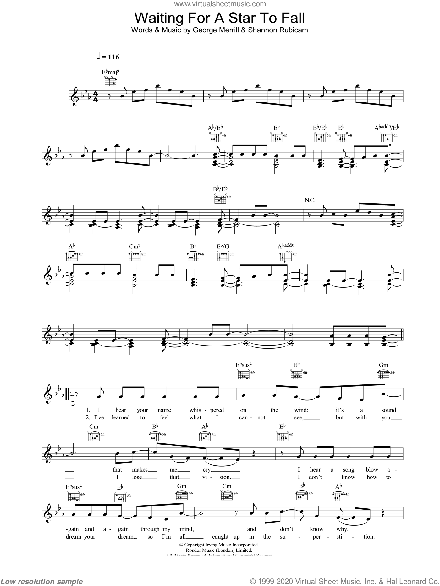 Waiting For A Star To Fall sheet music for voice and other instruments (fake book) by Shannon Rubicam and George Merrill. Score Image Preview.
