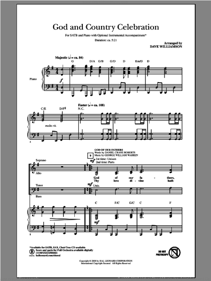 God And Country Celebration (Medley) sheet music for choir (SATB: soprano, alto, tenor, bass) by Samuel Augustus Ward, Dave Williamson and Katherine Lee Bates, intermediate skill level