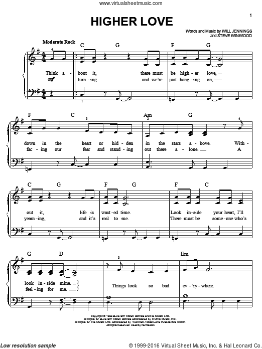 Higher Love sheet music for piano solo by Steve Winwood. Score Image Preview.