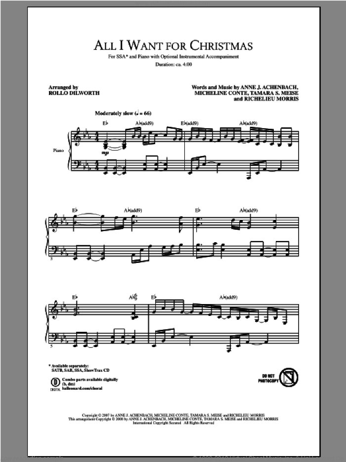 All I Want For Christmas sheet music for choir (SSA: soprano, alto) by Rollo Dilworth, intermediate skill level