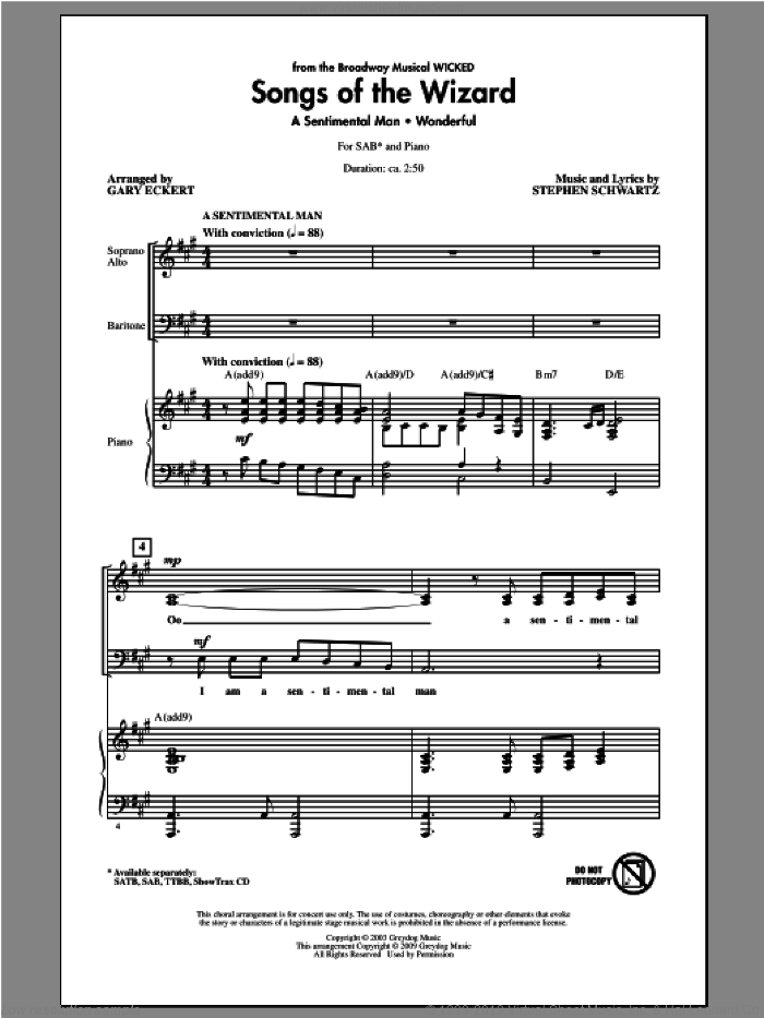 Songs of the Wizard (from Wicked) sheet music for choir (SAB) by Stephen Schwartz and Gary Eckert. Score Image Preview.