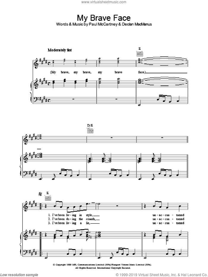 My Brave Face sheet music for voice, piano or guitar by Paul McCartney and Declan Macmanus, intermediate skill level