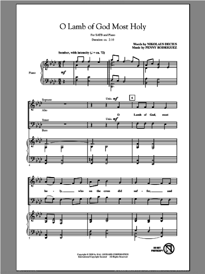 O Lamb Of God Most Holy sheet music for choir (SATB: soprano, alto, tenor, bass) by Penny Rodriguez, intermediate skill level