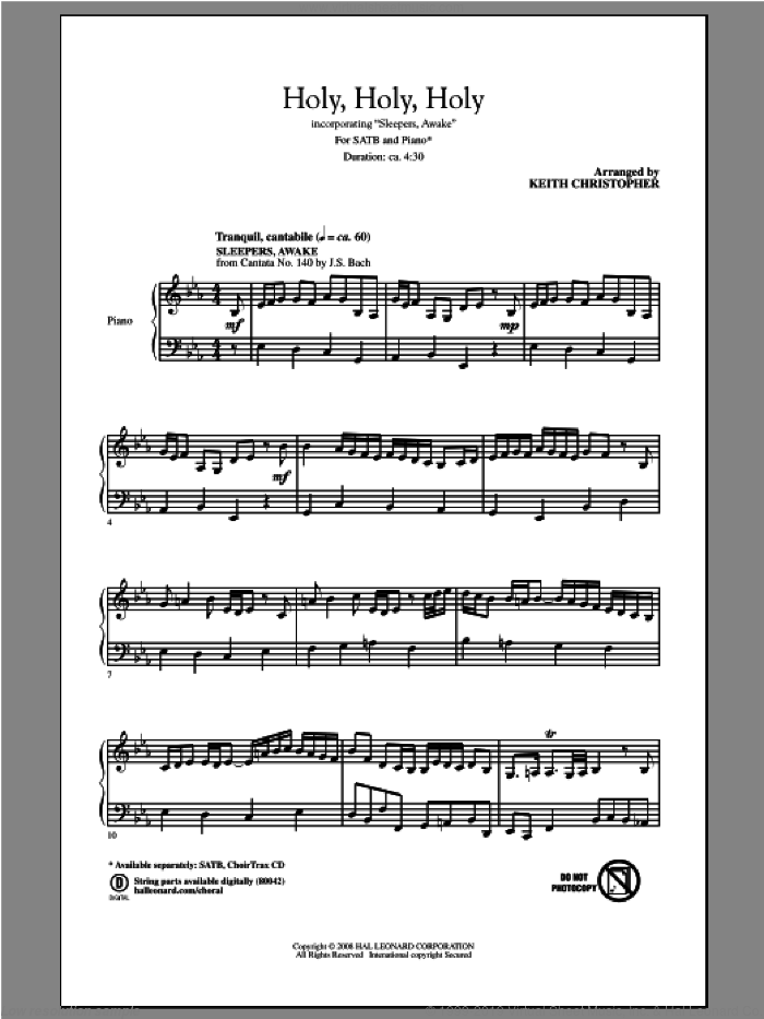 Holy, Holy, Holy sheet music for choir (SATB) by Keith Christopher, intermediate choir (SATB). Score Image Preview.