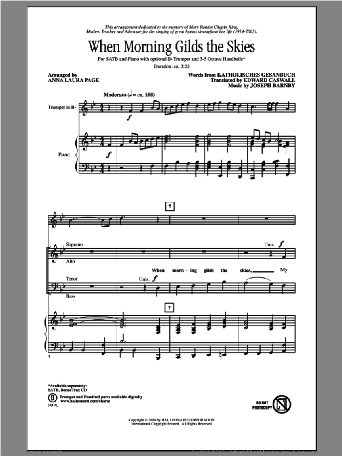 When Morning Gilds The Skies sheet music for choir (SATB) by Anna Laura Page. Score Image Preview.