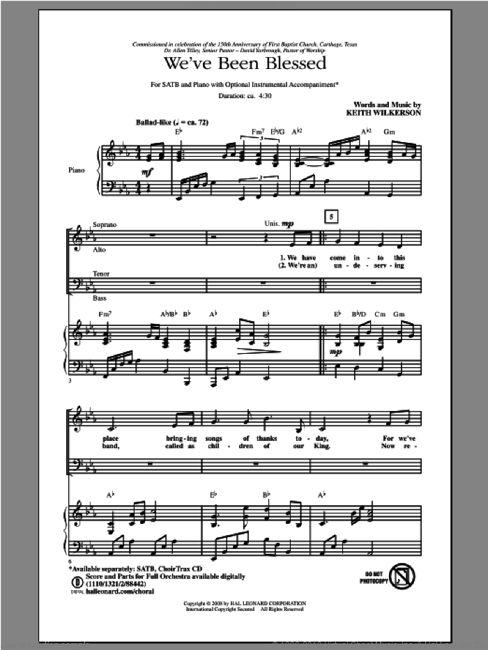We've Been Blessed sheet music for choir (SATB: soprano, alto, tenor, bass) by Keith Wilkerson, intermediate skill level