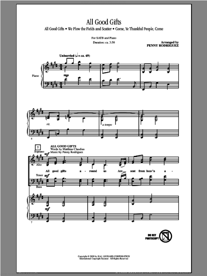 All Good Gifts sheet music for choir (SATB) by Penny Rodriguez. Score Image Preview.