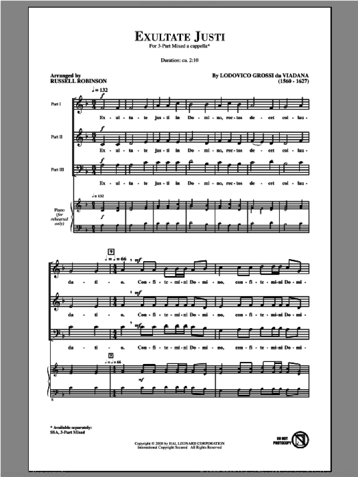 Exultate Justi sheet music for choir (3-Part Mixed) by Russell Robinson and Lodovico Grossi da Viadana, intermediate. Score Image Preview.