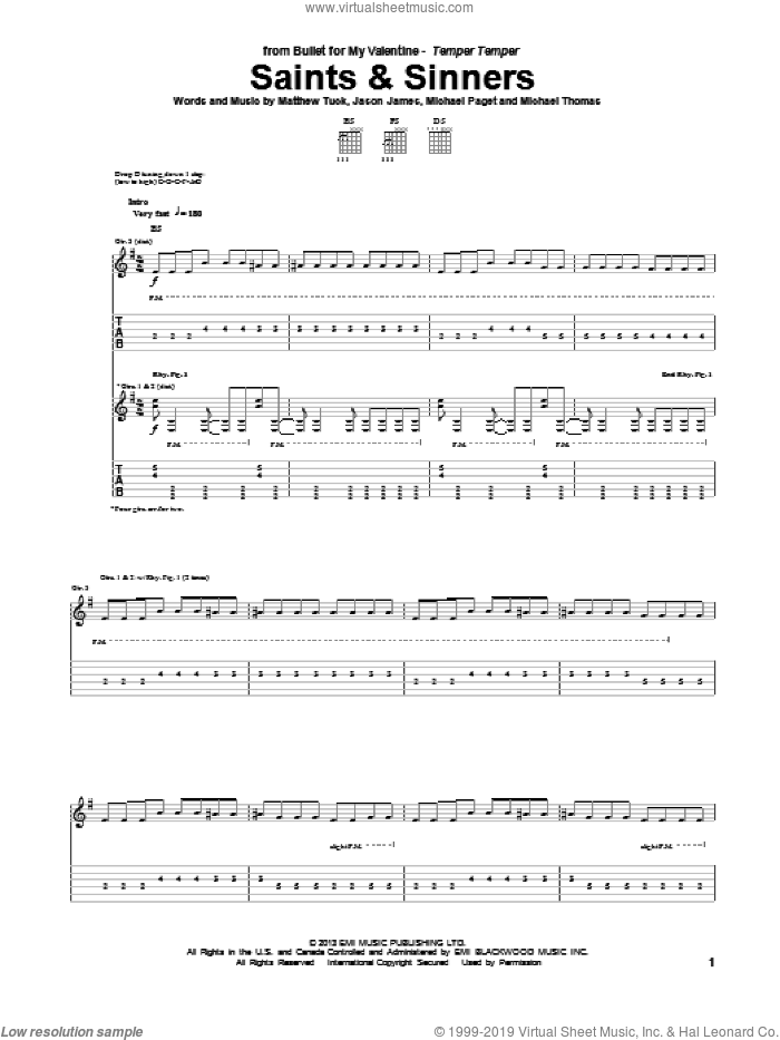 Saints and Sinners sheet music for guitar (tablature) by Bullet For My Valentine. Score Image Preview.
