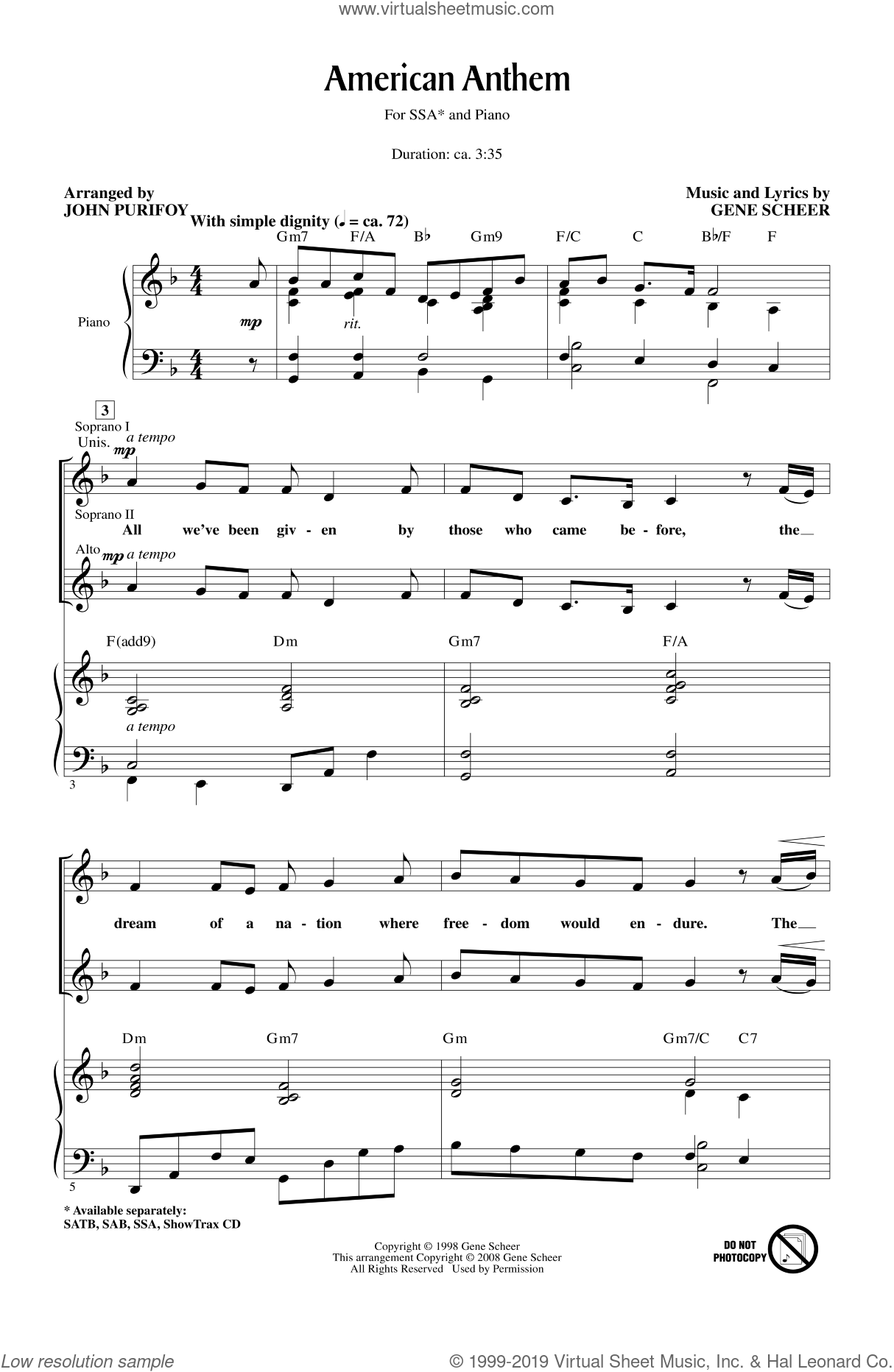 American Anthem sheet music for choir and piano (SSA) by John Purifoy