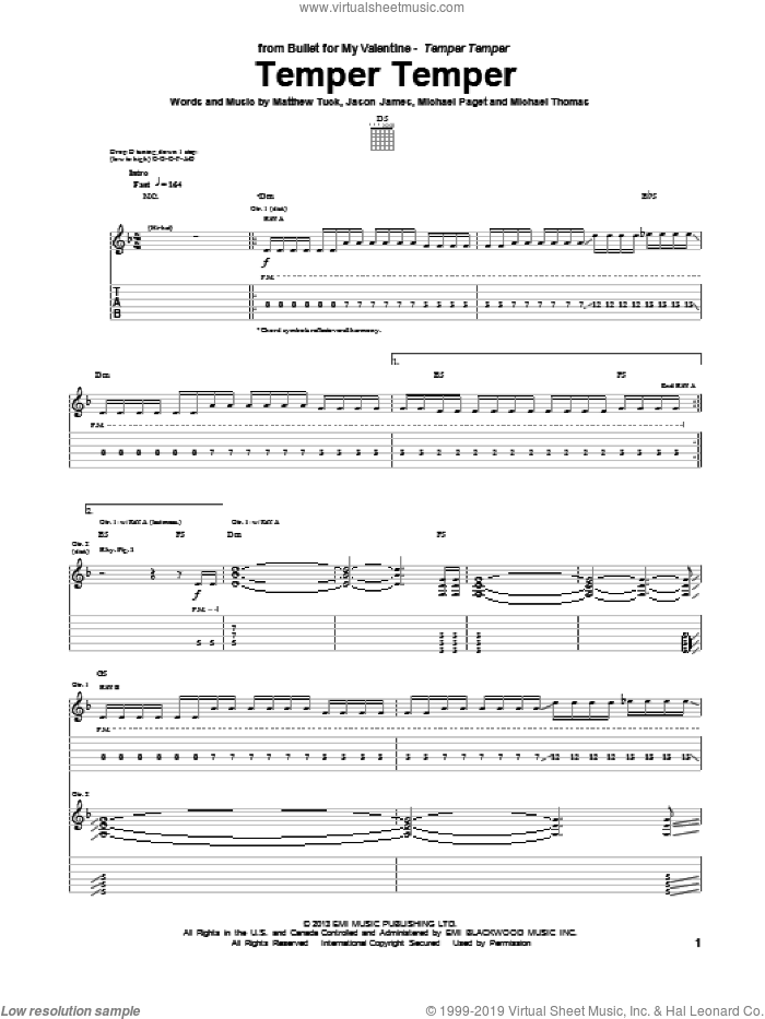 Temper Temper sheet music for guitar (tablature) by Bullet For My Valentine. Score Image Preview.