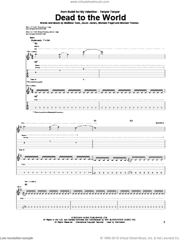 Dead To The World sheet music for guitar (tablature) by Bullet For My Valentine. Score Image Preview.