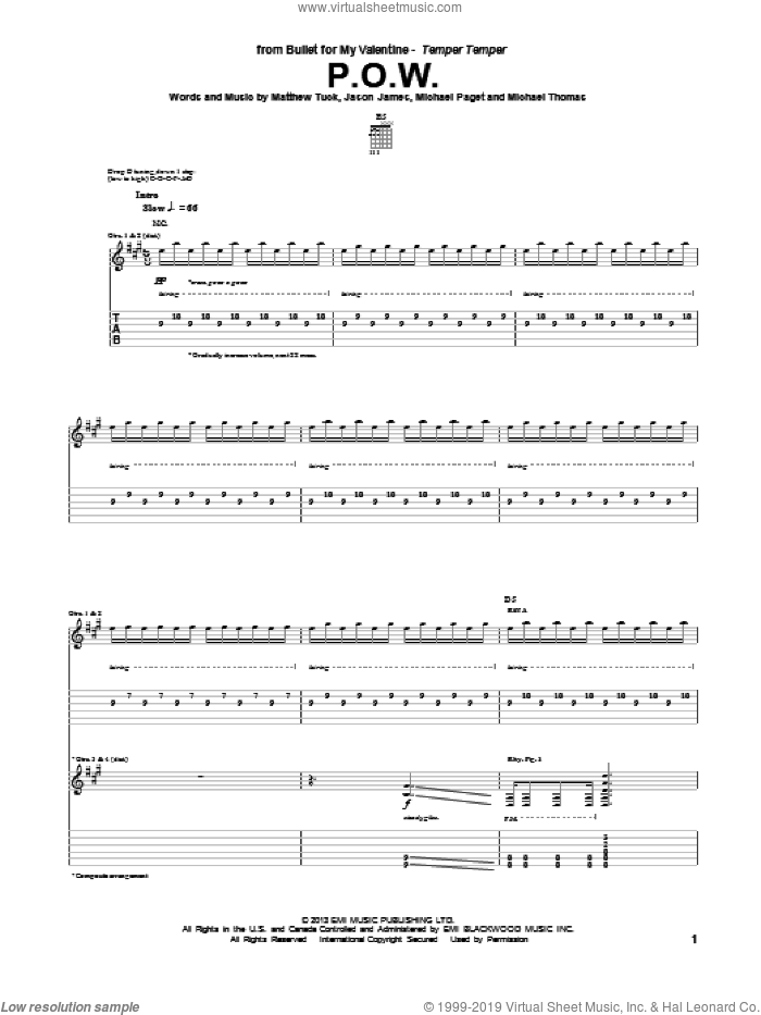 P.O.W. sheet music for guitar (tablature) by Bullet For My Valentine, intermediate
