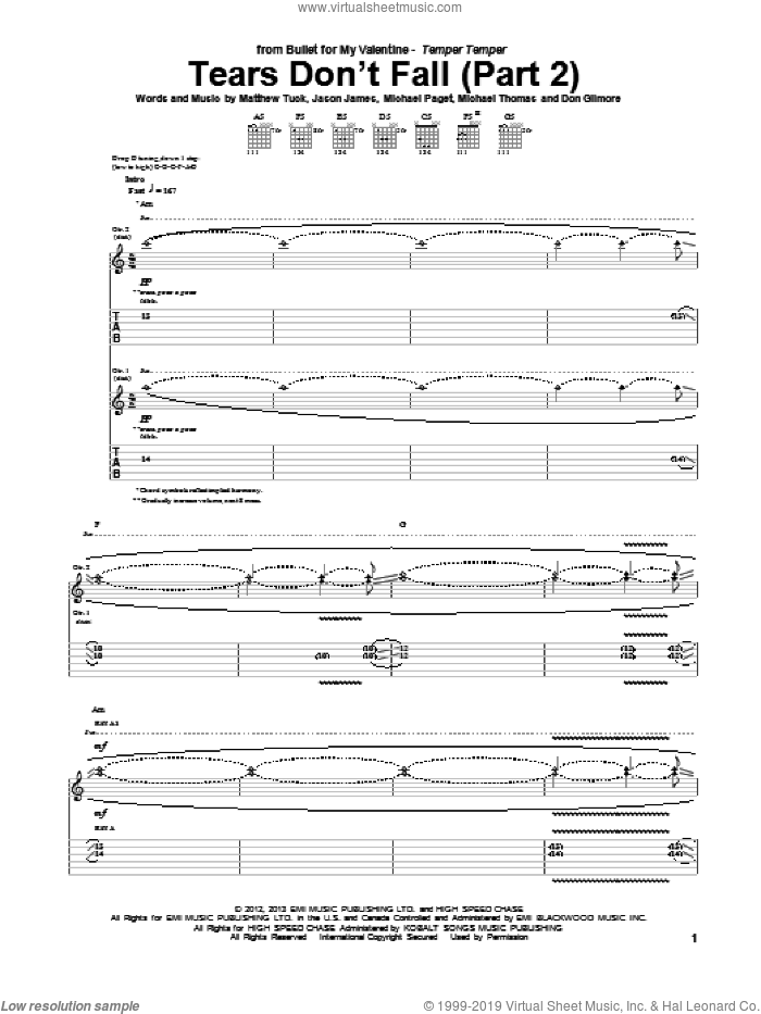 Tears Don't Fall (Part 2) sheet music for guitar (tablature) by Bullet For My Valentine, intermediate skill level