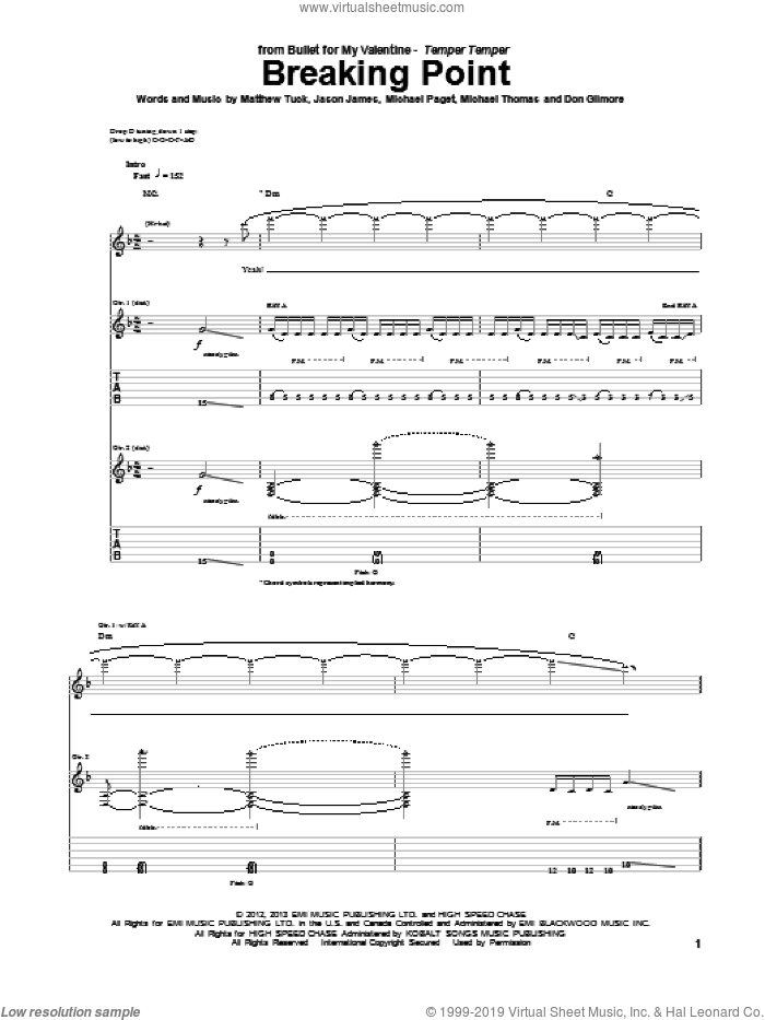 Breaking Point sheet music for guitar (tablature) by Bullet For My Valentine. Score Image Preview.