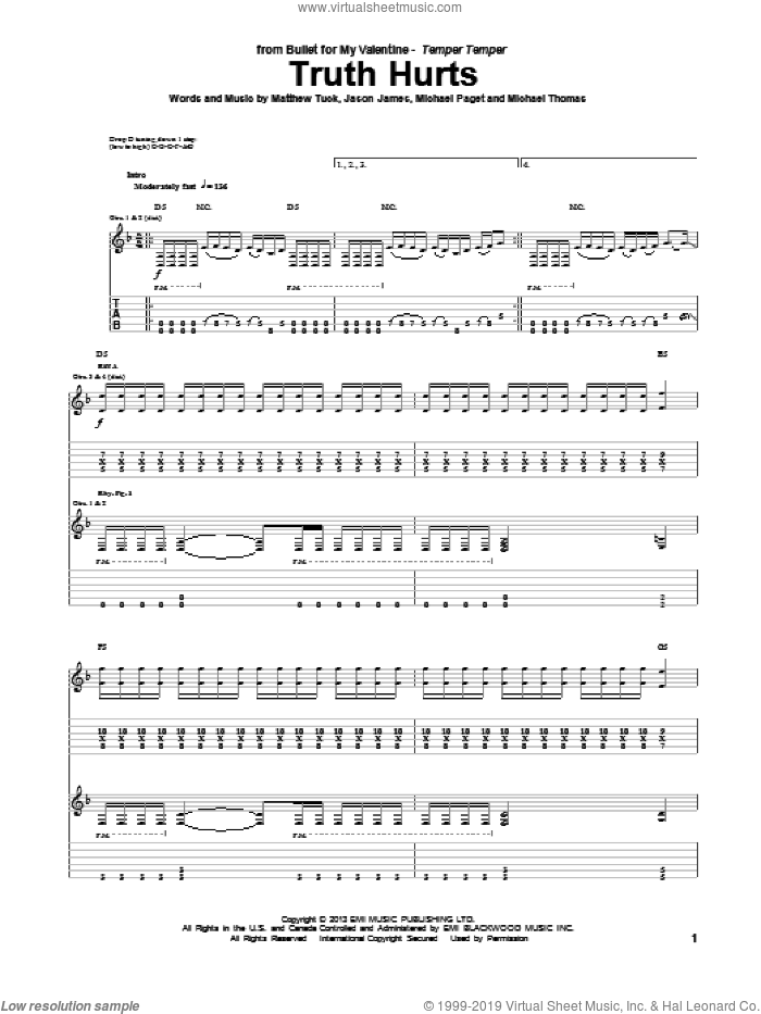 Truth Hurts sheet music for guitar (tablature) by Bullet For My Valentine. Score Image Preview.