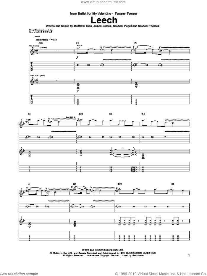 Leech sheet music for guitar (tablature) by Bullet For My Valentine. Score Image Preview.