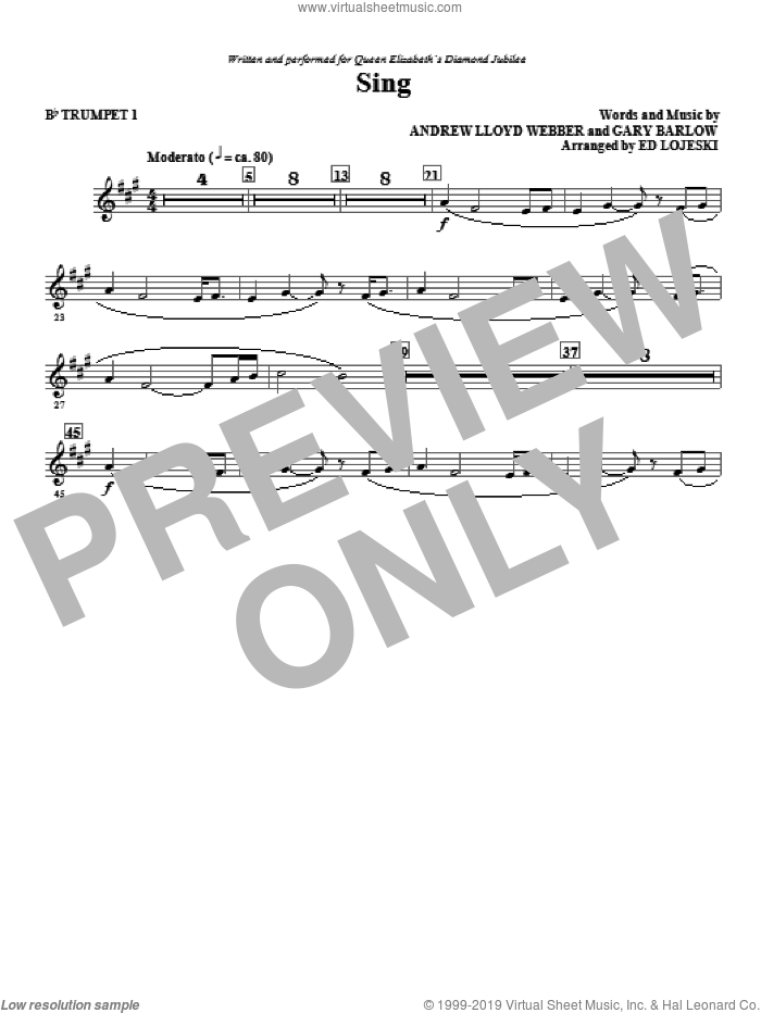 Sing (Queen Elizabeth Diamond Jubilee) (complete set of parts) sheet music for orchestra/band by Andrew Lloyd Webber, Ed Lojeski and Gary Barlow, intermediate orchestra/band. Score Image Preview.