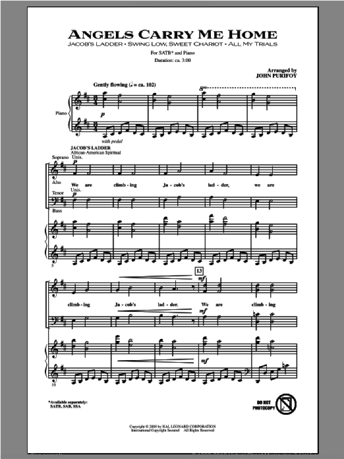 Angels Carry Me Home (Medley) sheet music for choir (SATB: soprano, alto, tenor, bass) by John Purifoy, intermediate. Score Image Preview.