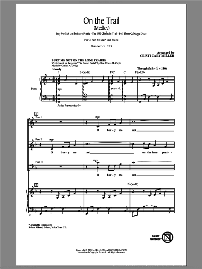 On The Trail (Medley) sheet music for choir and piano (chamber ensemble) by Cristi Cary Miller