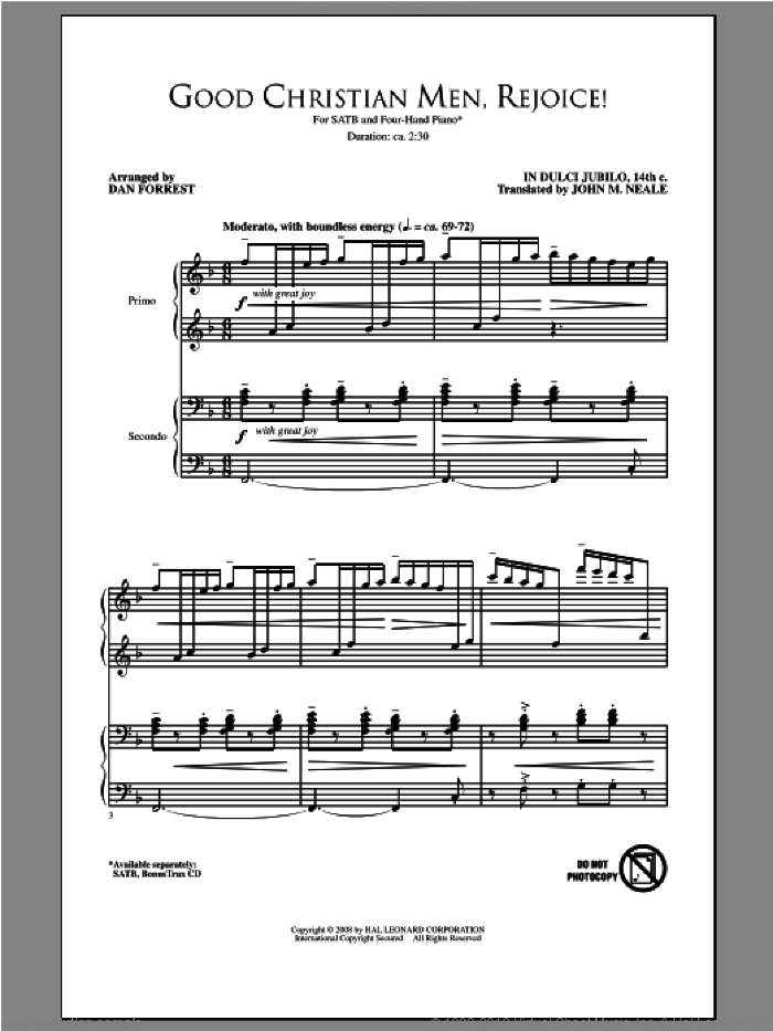 Good Christian Men, Rejoice sheet music for choir and piano (SATB) by Dan Forrest. Score Image Preview.