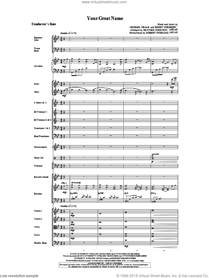 Your Great Name sheet music for orchestra/band (score) by Heather Sorenson. Score Image Preview.