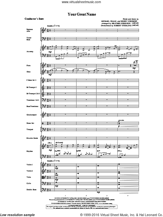 Your Great Name (COMPLETE) sheet music for orchestra by Heather Sorenson, intermediate orchestra. Score Image Preview.