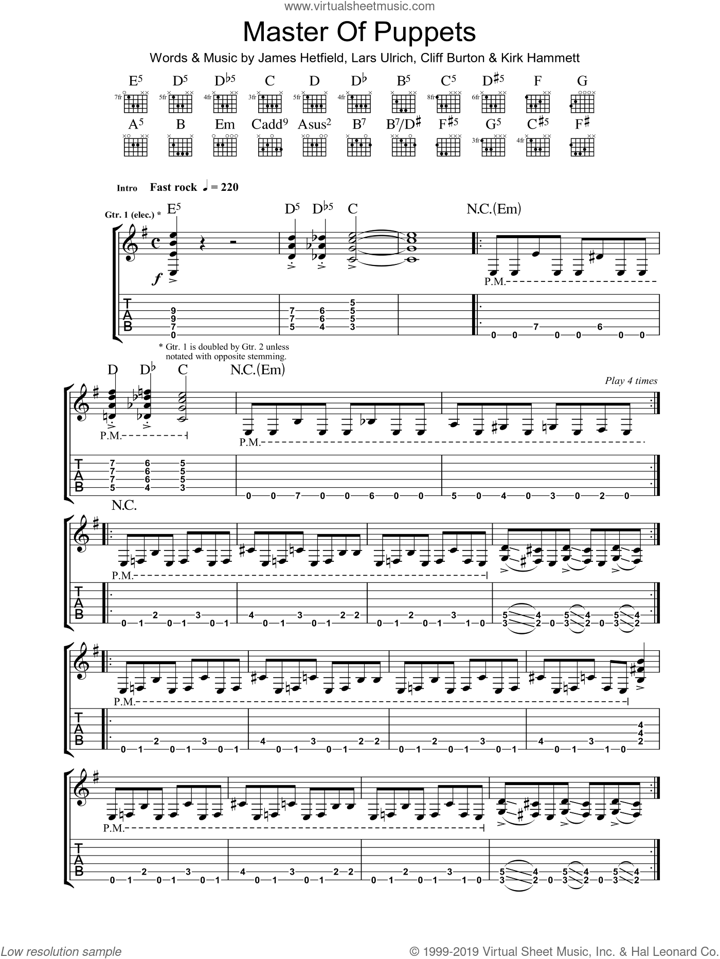 Master Of Puppets sheet music for guitar (tablature) by Lars Ulrich, Cliff Burton and James Hetfield. Score Image Preview.
