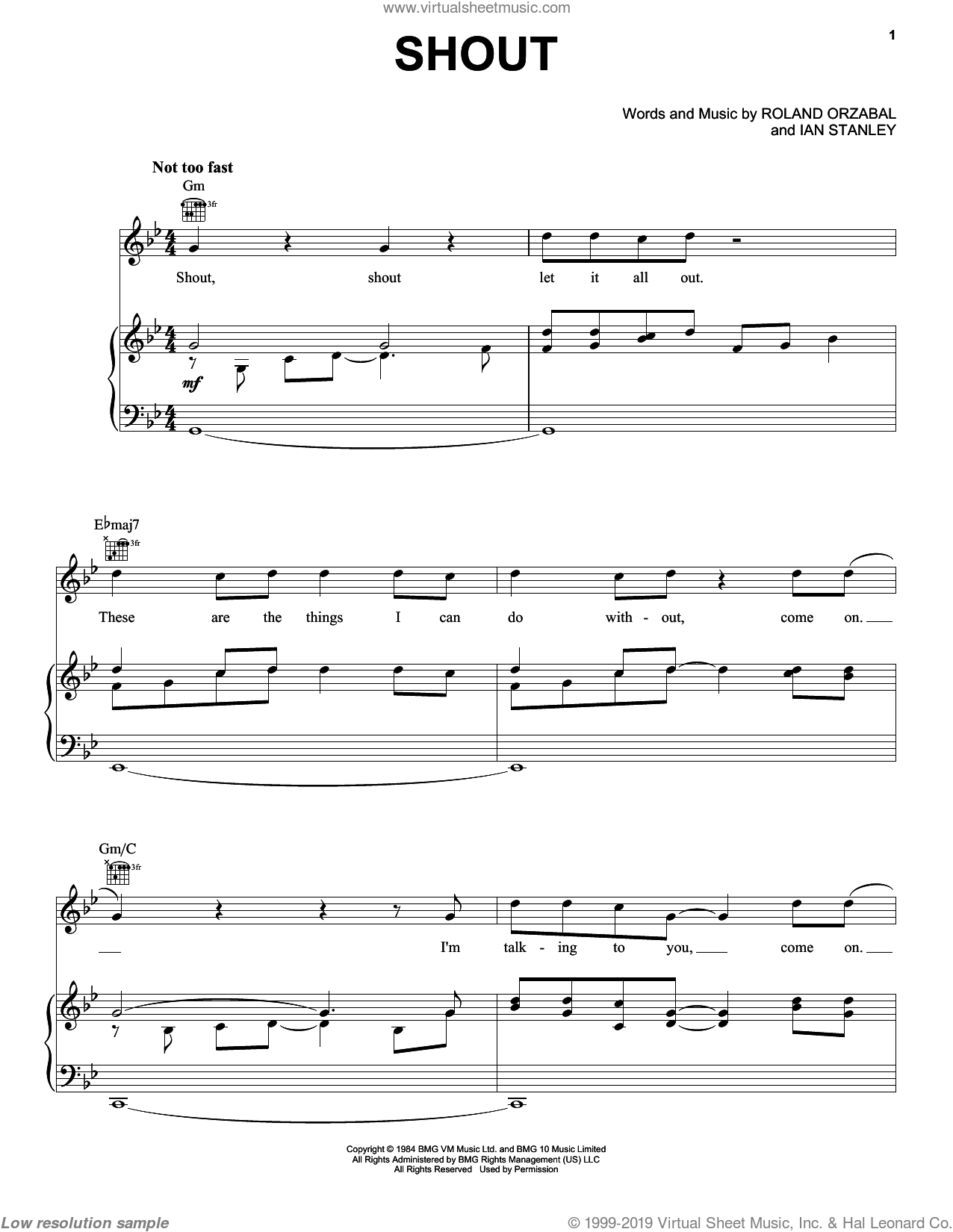 Shout sheet music for voice, piano or guitar by Roland Orzabal, Disturbed and Tears For Fears. Score Image Preview.