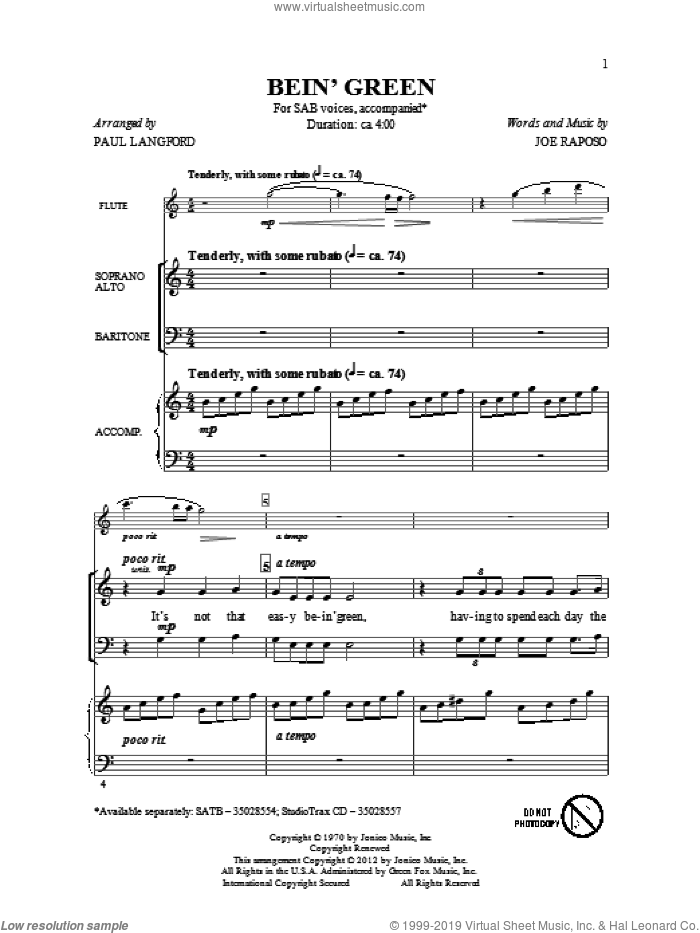 Bein' Green sheet music for choir and piano (SAB) by Paul Langford. Score Image Preview.